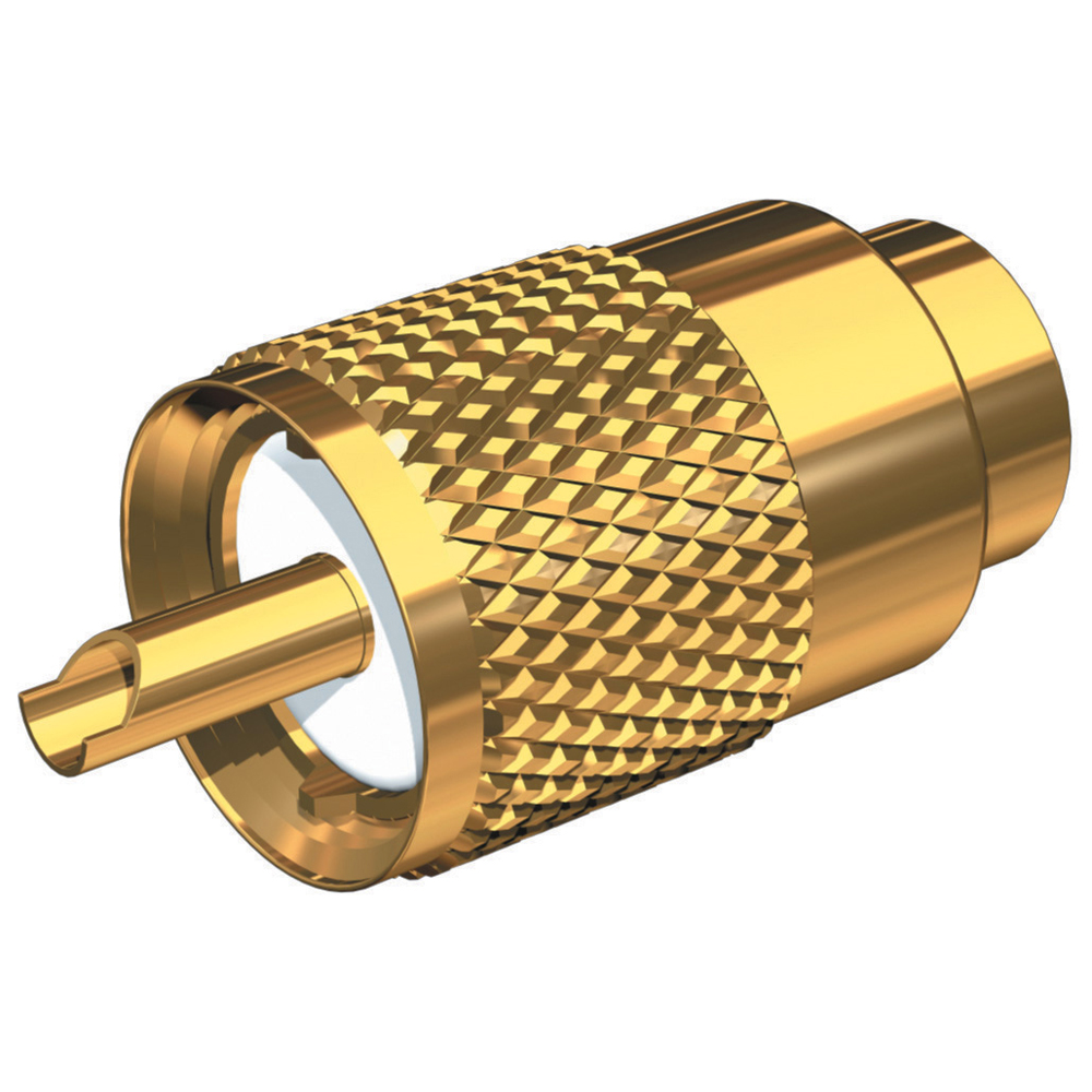 Shakespeare PL-259-58-G Gold Solder-Type Connector w/UG175 Adapter & DooDad® Cable Strain Relief f/RG-58x