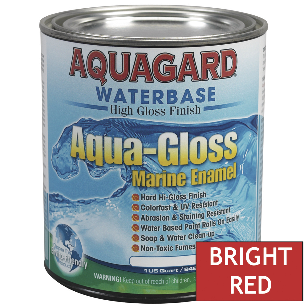 Aquagard Aqua Gloss Waterbased Enamel - 1Qt - Bright Red