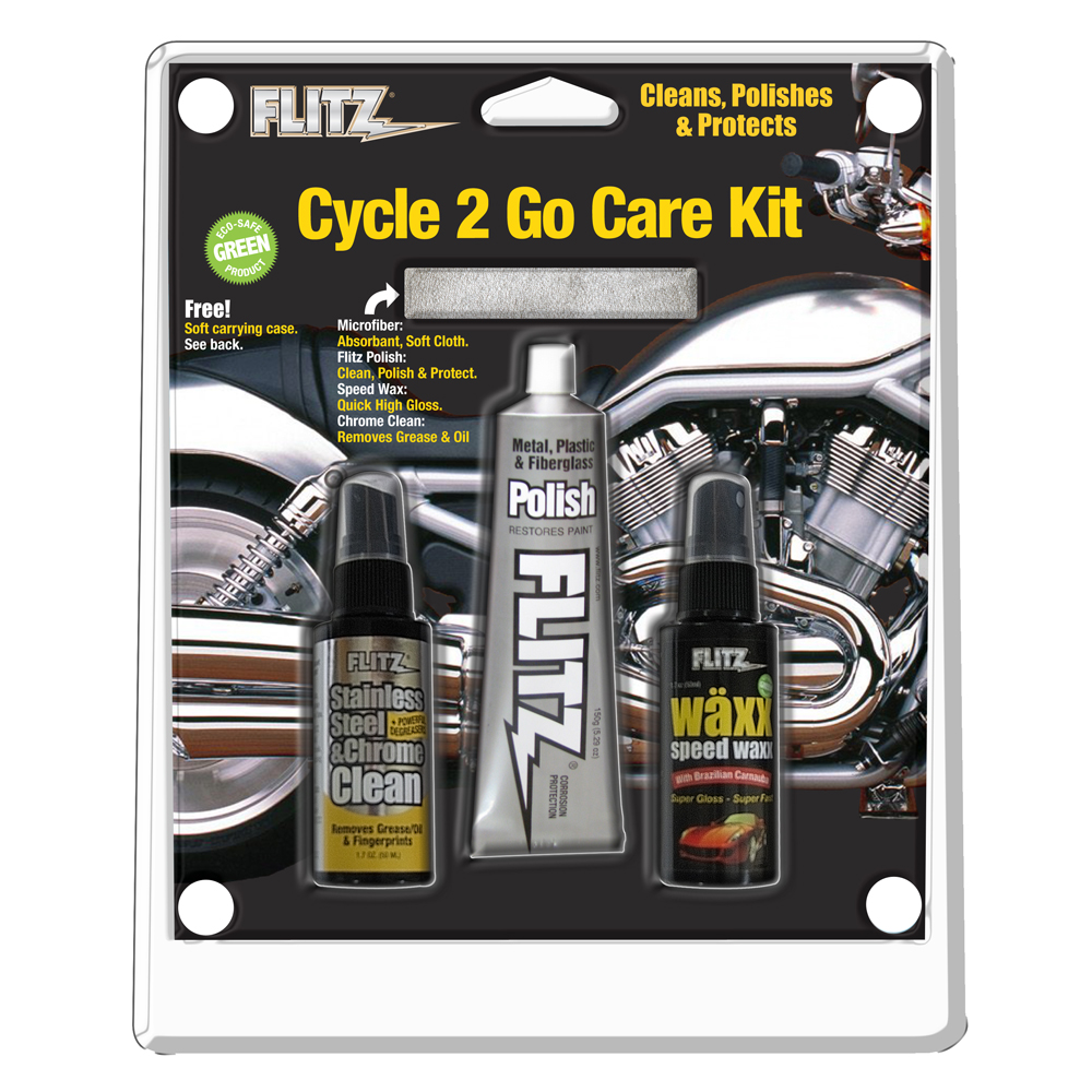 Flitz Cycle 2 Go Care Kit w/Polish, Speed Waxx®, Chrome Clean & Microfiber Cloth