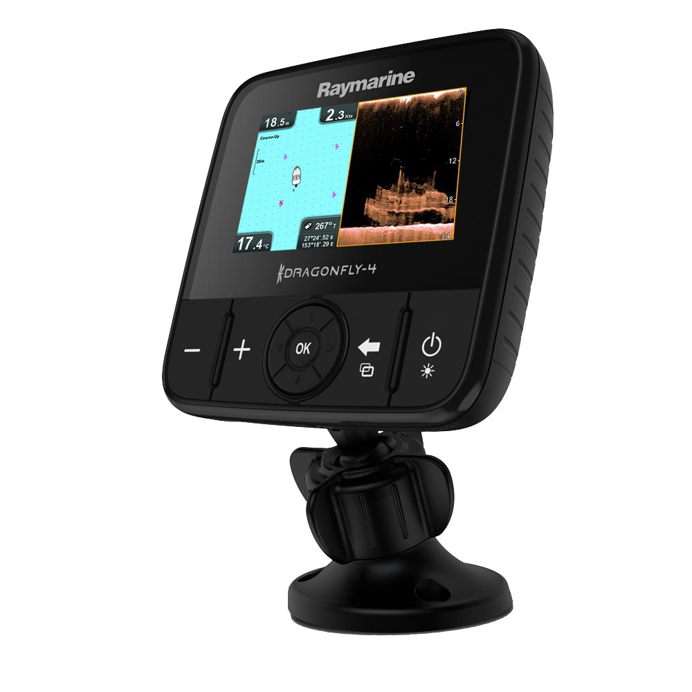 Raymarine Dragonfly 4PRO CHIRP Sonar/GPS w/DownVision™ Plus Conventional Sonoar & US Lakes, Rivers & Coastal Maps