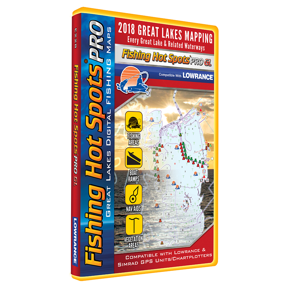 Fishing Hot Spots PRO GL - 2018 Digital Map & Fishing Chip f/Lowrance & Simrad Units - Great Lakes