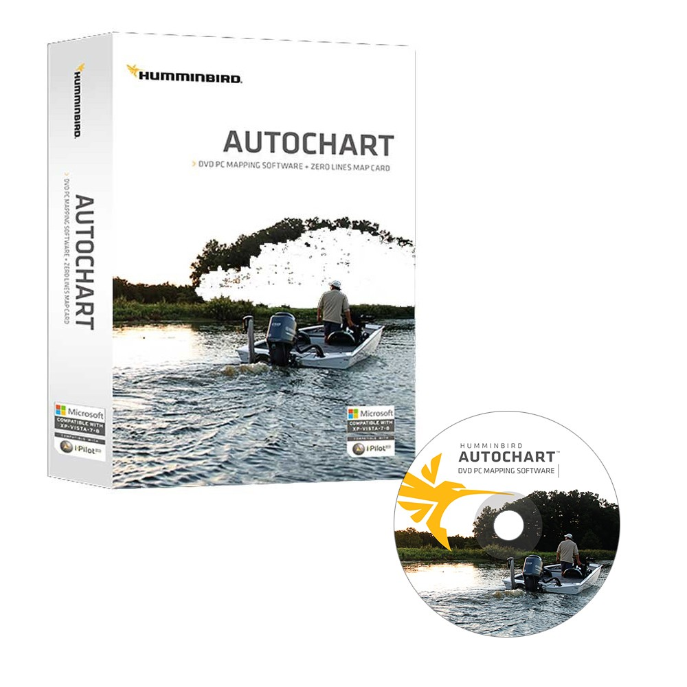 Humminbird Autochart DVD PC Mapping Software w/Zero Lines Map Card